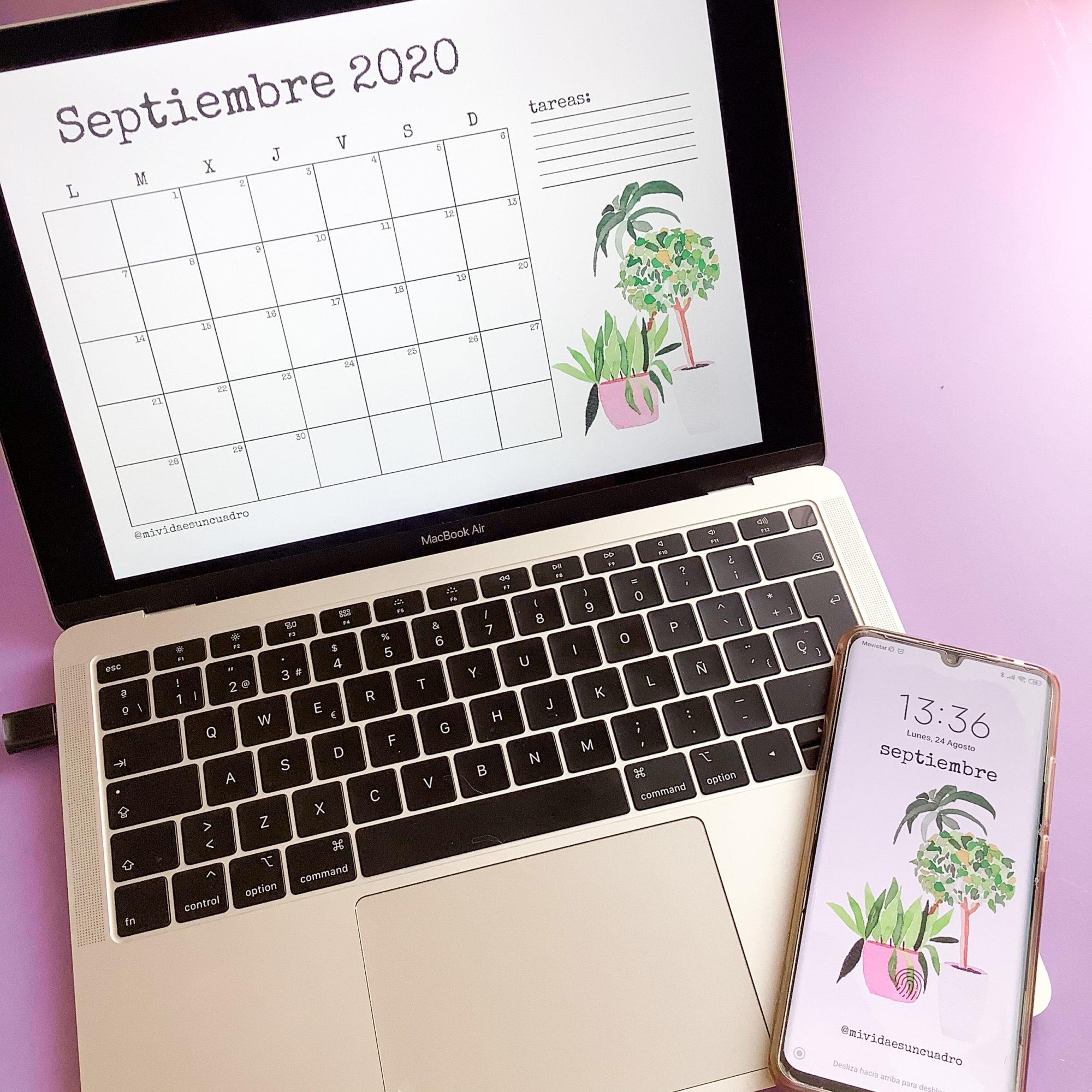 organizador mensual y fondo de pantalla septiembre