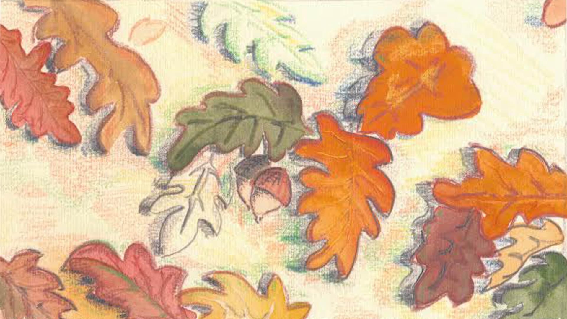acuarela de hojas otoño